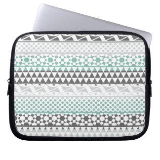 Teal Gray Geometric Aztec Tribal Print Pattern Laptop Computer Sleeves