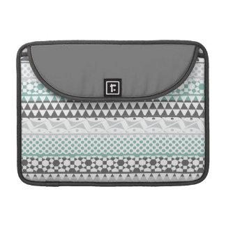 Teal Gray Geometric Aztec Tribal Print Pattern MacBook Pro Sleeve