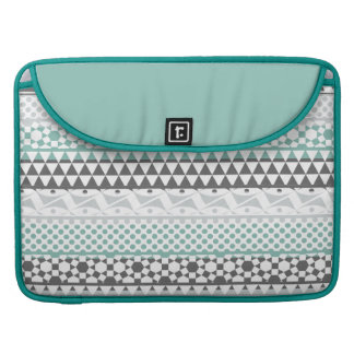 Teal Gray Geometric Aztec Tribal Print Pattern Sleeve For MacBook Pro