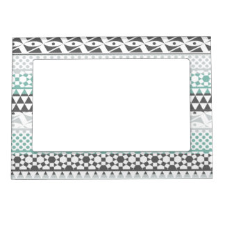 Teal Gray Geometric Aztec Tribal Print Pattern Magnetic Picture Frame