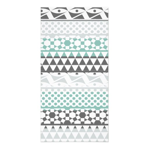 Teal Gray Geometric Aztec Tribal Print Pattern Photo Cards