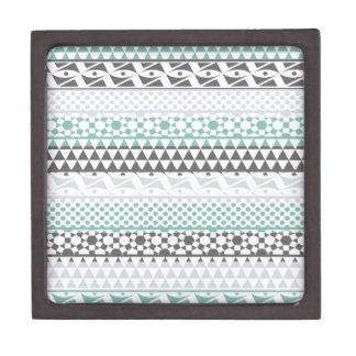 Teal Gray Geometric Aztec Tribal Print Pattern Premium Gift Boxes