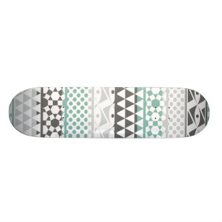 Teal Gray Geometric Aztec Tribal Print Pattern Skateboard
