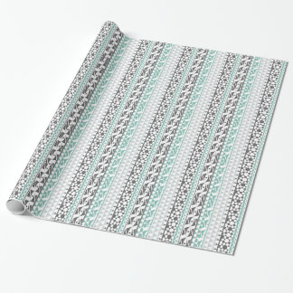 Teal Gray Geometric Aztec Tribal Print Pattern Gift Wrapping Paper