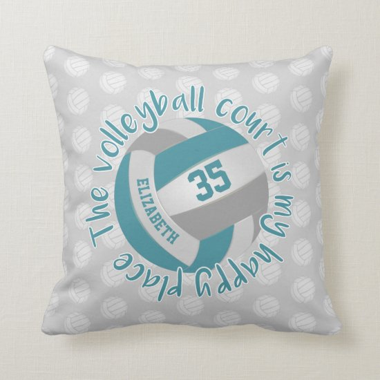teal gray girls volleyball court my happy place throw pillow
