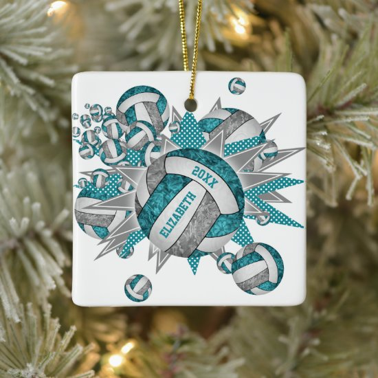 teal gray girly volleyball blowout sports ceramic ornament