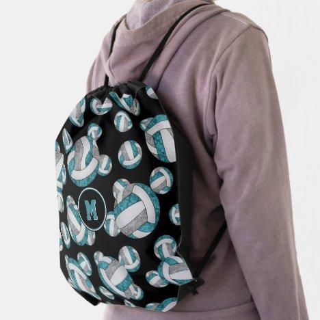 teal gray girly volleyball team colors drawstring bag