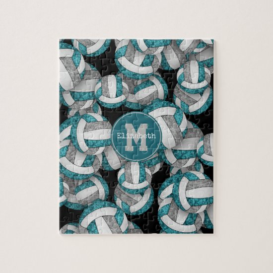 teal gray girly volleyballs pattern monogrammed jigsaw puzzle