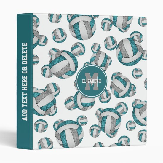 teal gray girly volleyballs sporty back to school 3 ring binder