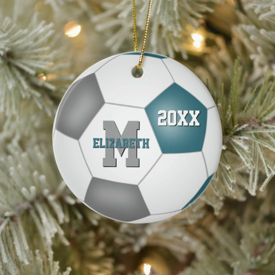 teal gray her his school team colors soccer ceramic ornament