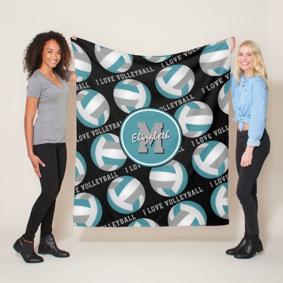 teal gray I love volleyball text pattern Fleece Blanket