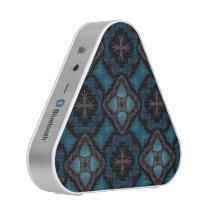 Teal gray medieval kaleidoscope pattern bluetooth speaker