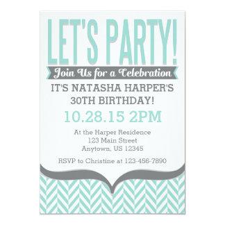 Teal Gray Modern Herringbone Birthday Invitations