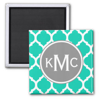 Teal Gray Moroccan Lattice 2 Inch Square Magnet