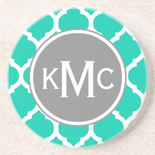 Teal Gray Moroccan Lattice Beverage Coaster