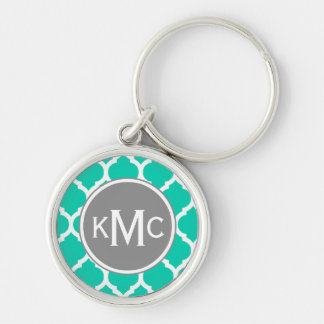Teal Gray Moroccan Lattice Keychain