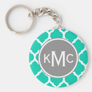 Teal Gray Moroccan Lattice Keychain