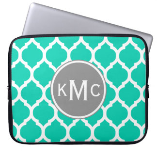 Teal Gray Moroccan Lattice Laptop Computer Sleeves