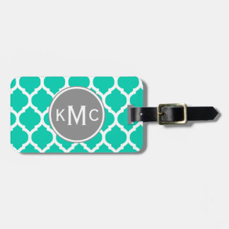 Teal Gray Moroccan Lattice Tags For Bags