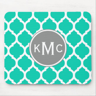 Teal Gray Moroccan Lattice Mouse Pad