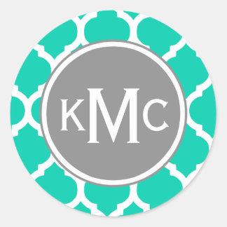 Teal Gray Moroccan Lattice Classic Round Sticker