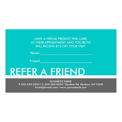 Refer a friend business card templates bizcardstudio teal gray simple refer a friend custom cards business cards colourmoves