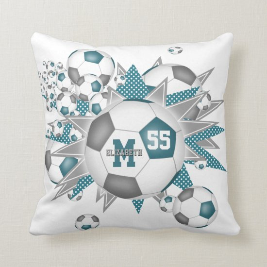teal gray soccer ball blowout girly sports decor throw pillow