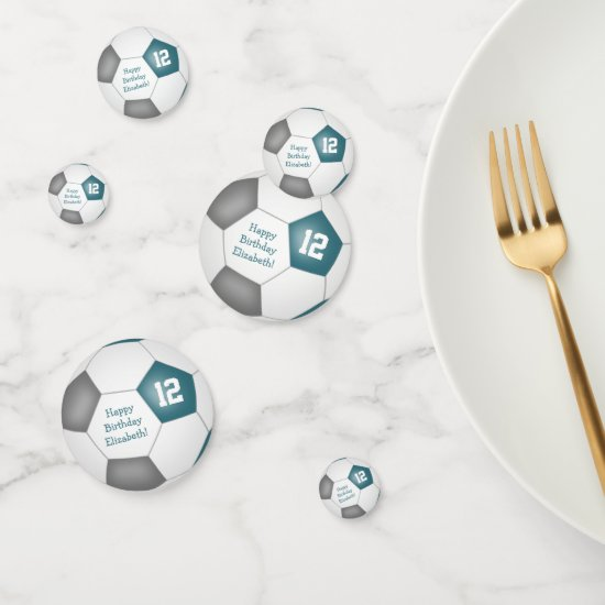 teal gray soccer birthday party confetti