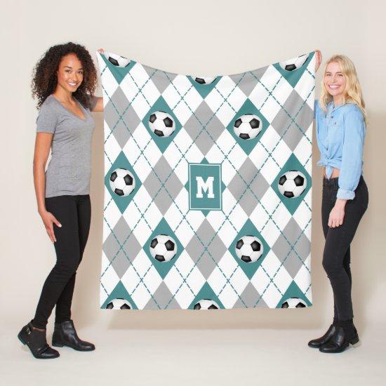 teal gray soccer team colors argyle pattern fleece blanket