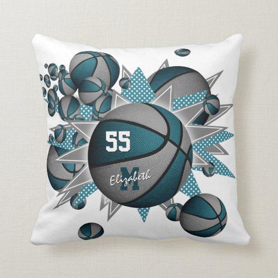teal gray sports decor basketball blowout throw pillow