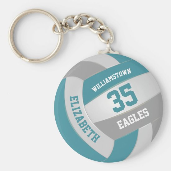 teal gray sports team colors girls volleyball keychain