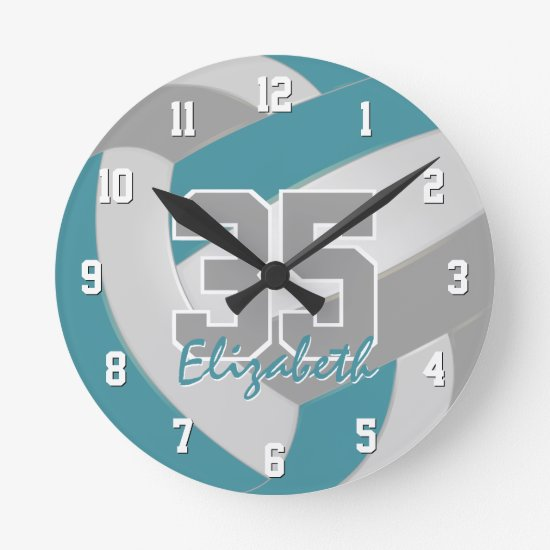 teal gray sporty personalized volleyball round clock