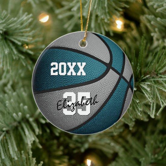 teal gray team colors girls boys basketball ceramic ornament
