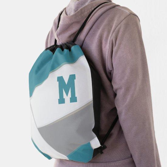 teal gray team colors girls boys volleyball drawstring bag