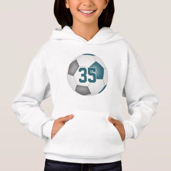 teal gray team colors jersey number soccer hoodie