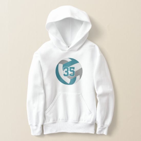 teal gray team colors jersey number volleyball hoodie