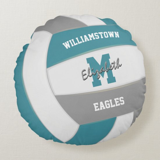 teal gray team colors kids volleyball round pillow