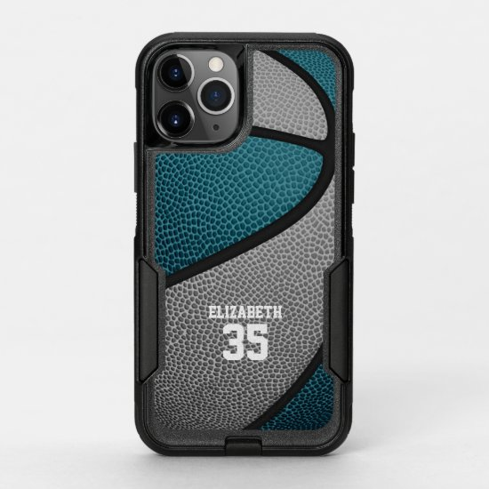 teal gray team colors personalized basketball OtterBox commuter iPhone 11 pro case