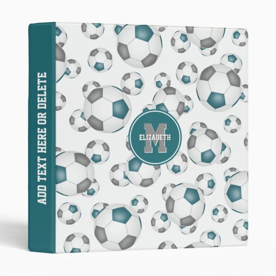 teal gray team colors soccer balls pattern 3 ring binder