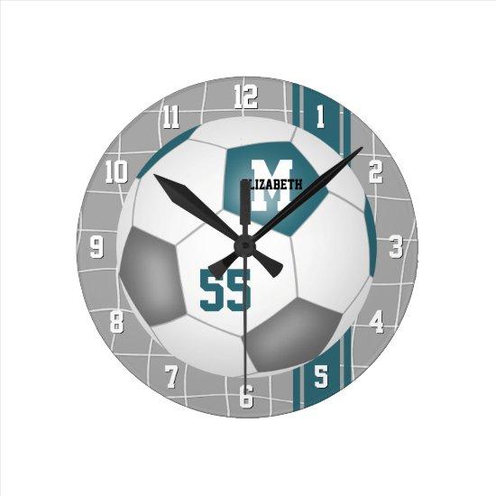 teal gray team colors varsity stripes soccer round clock