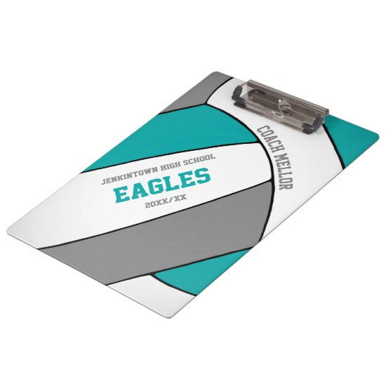 teal gray team colors volleyball coach clipboard