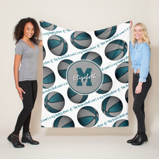 teal gray The basketball court is my happy place Fleece Blanket