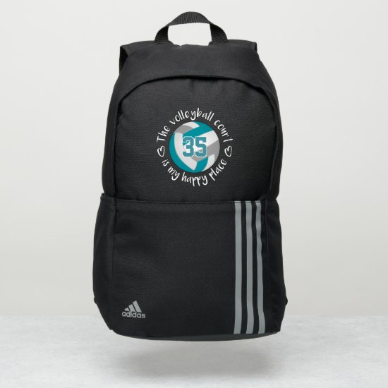 teal gray The volleyball court is my happy place Adidas Backpack