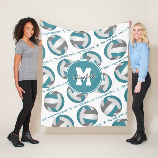 teal gray The volleyball court is my happy place Fleece Blanket