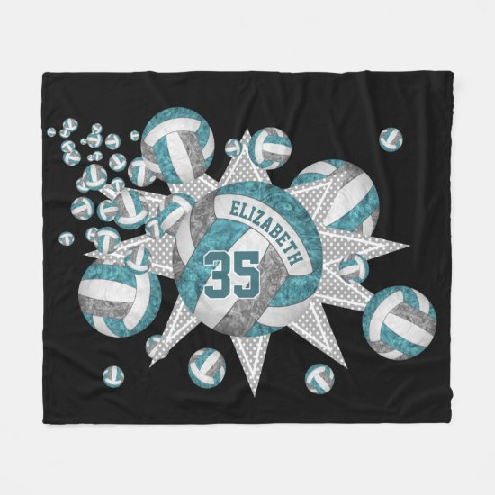 teal gray volleyball blowout girls sports room fleece blanket