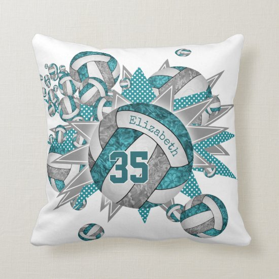 teal gray volleyball blowout girly sports decor throw pillow