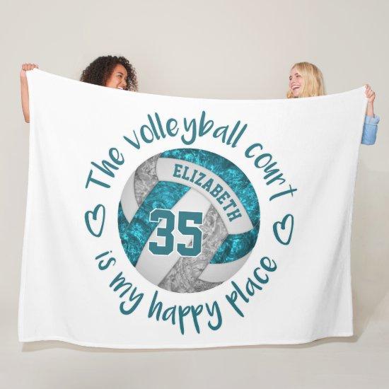 teal gray volleyball court happy place custom fleece blanket