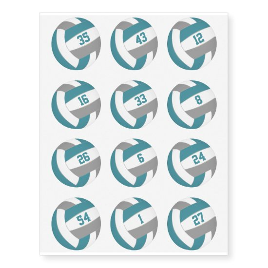 teal gray volleyballs w jersey numbers set of 12 temporary tattoos
