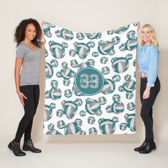 teal gray white girly volleyball pattern fleece blanket