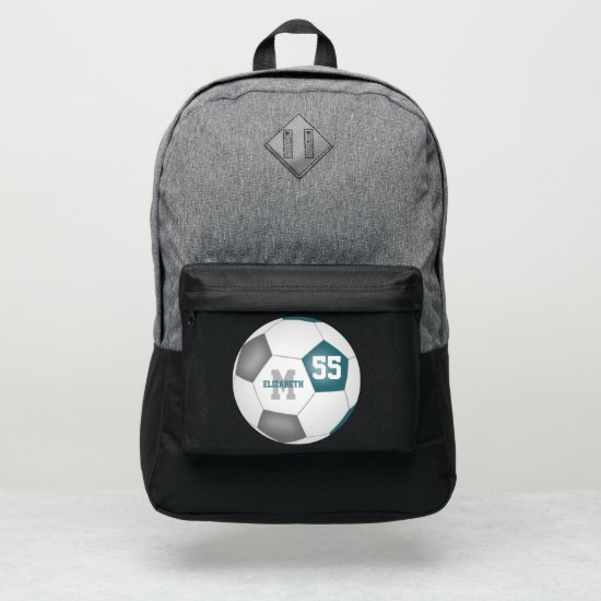 teal gray white soccer ball personalized port authority® backpack